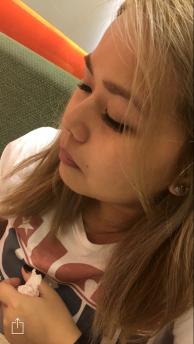 Ruby with false eyelashes