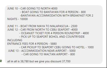 Itinerary - North Cebu + Bohol